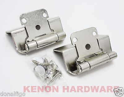 "25 Pairs (50) 1/2"" Overlay, 3/4"" Frame Full Wrap Self Closing Hinge Satin Nickel"