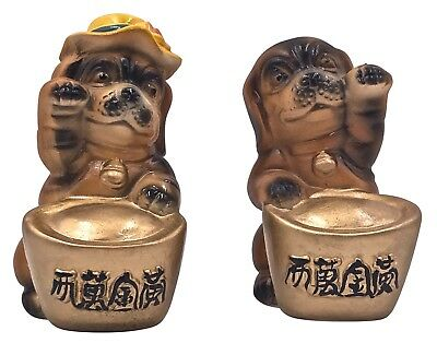 1 Pair Chinese New Year of the Dog Ceramic Happy Dog Figurines