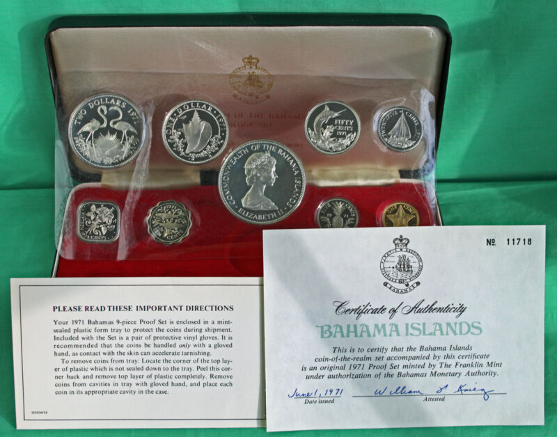 1971 Bahama Islands 9 Coin Proof Set with Original Packaging and COA $5 Silver