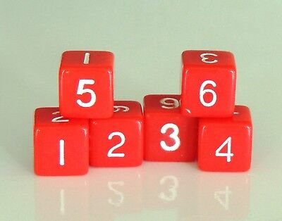 New Set of 6 Numbered D6 Six Sided Standard 16mm Dice - Opaque Red