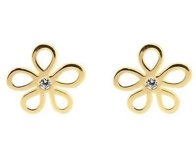 1x Pair of 9ct Yellow Gold Flower Petal CZ Gem Set Ear Studs Earrings + gift bag Flower Petal Gift Bags