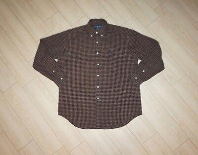 Mens RALPH LAUREN BLAIRE Button Down Shirt Checkered Long Sleeve Brown M Medium