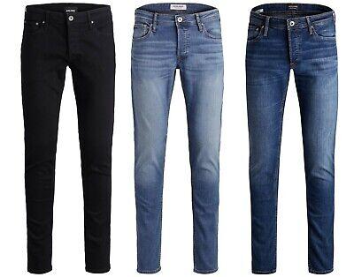 Mens JACK & JONES Black Stretch Denim Jeans Slim Fit New Glenn Sale Size 28-36