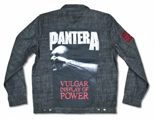 PANTERA VULGAR DISPLAY OF POWER NAME LOGO DENIM JACKET NEW AUTHENTIC ADULT LG.