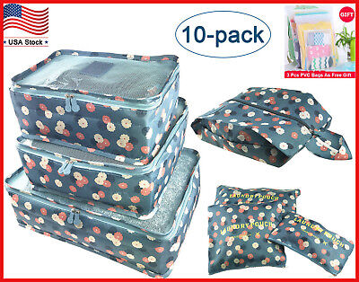 10Pcs Waterproof Clothes Storage Bag Packing Cube Travel Luggage Organizer Pouch