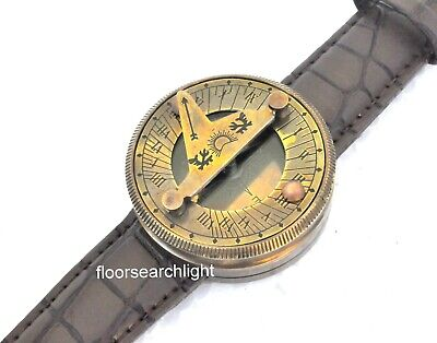 Antique Style Marine Working Nautical Wrist Watch Type Brass Sundial Compass