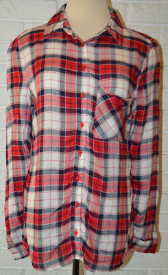 Womens Rue 21 Red Plaid Long Sleeve Button Front Shirt Top Size Xs