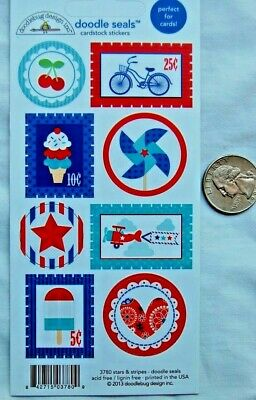 Doodlebug Doodle Seals cardstock stickers stars & Stripes july 4th USA patriotic - Chevron Cardstock
