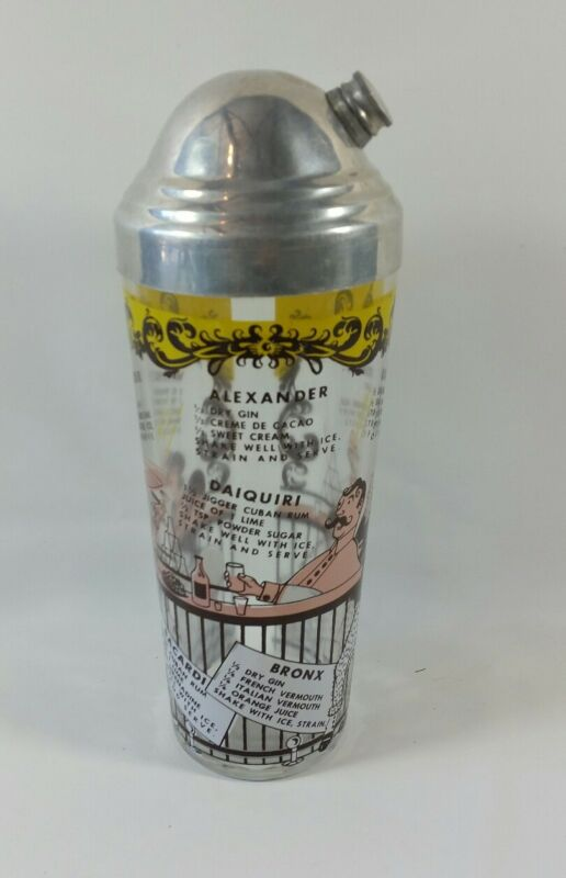 Vintage Mid-Century Glass Martini Liqour Shaker w/ Drink Recipes & Graphics