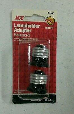 NEW Brown Ace Hardware Lampholder Adapter 2 pack Each Outlet to receptacle