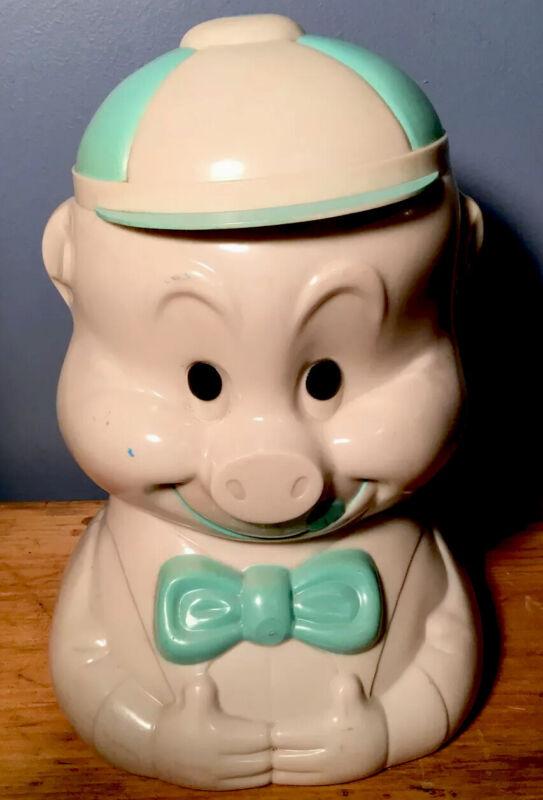 VINTAGE 1940s ALLADIN USA CELLULOID PADDY PIG COOKIE JAR RARER BLUE!  EXCELLENT!