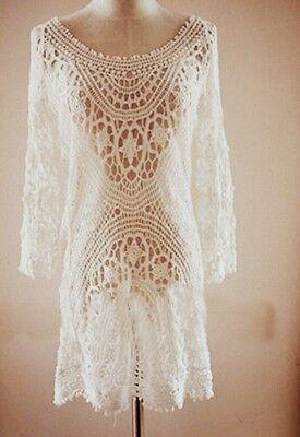 Lace♡Sexy Crochet♡Celebrity Style♡White Sexy Dress♡Beach Dress♡Tunic. NEW (Celebrity Beach Style)