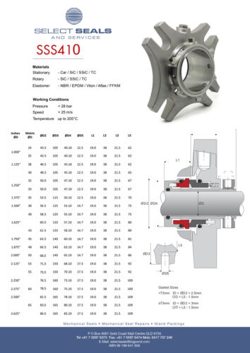 53 mm SSS410 Single Cartridge Mechanical Seal Replaces Burgmann Cartex & AES