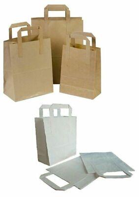 Brown Or White Kraft Paper Sos Flat Handle Party Paper Bags Takeaway Loot Gifts