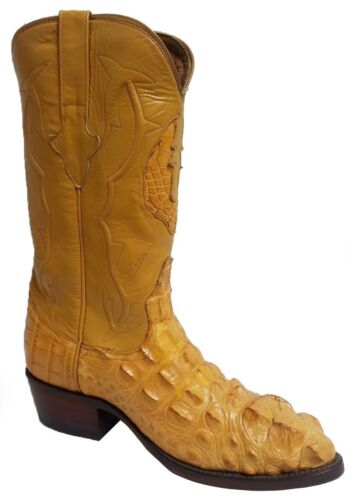 Mens, Buttercup, Crocodile, Hornback, Exotic, Skin, Leather, Cowboy, Boots, J, Toe, Size, 7