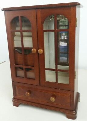 Vintage Mid-Century Modern MELE Cherry Wood Jewelry Box Valet Mini Armoire chest