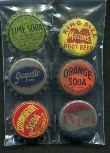 6 Cork Back Soda Bottle Caps Pepsi Grapette Masons