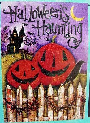 "Large ""Halloween's Haunting"" Pumpkins Porch Art flag (28"" x 40"")"