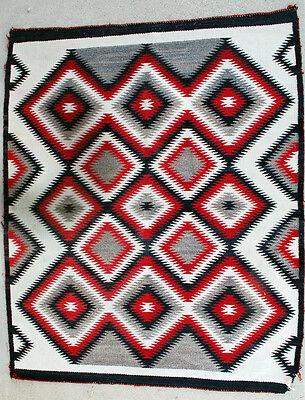 Vintage NAVAJO  RUG Eyedazzler design Finely Woven circa 1940's Navaho Blanket