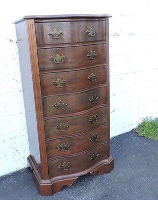 Tall Traditional Mahogany Serpentine Front Lingerie Chest  7554