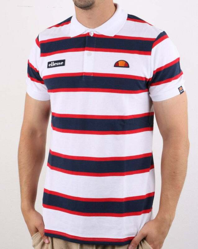 Ellesse Bold Stripe Polo Shirt in White, Navy & Red Marono short sleeve cotton