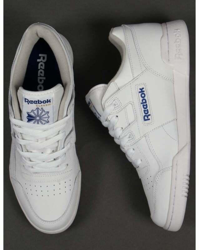 Détails sur Reebok Workout Plus Baskets Blanc & Bleu Neuf afficher le titre d'origine
