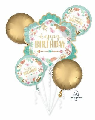 Chic Cute Gold Teal Floral 5pc Bouquet Birthday Party Foil Balloons - Teal Balloons Decorations