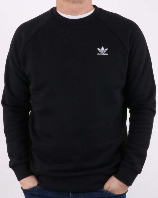 adidas Originals Essential Crew Sweat in Black sweatshirt, jumper, trefoil