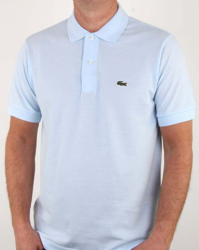 6285efe3443c Lacoste Classic Two Button Polo Shirt in Sky Blue - cotton pique short  sleeve