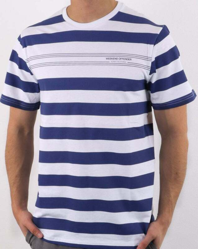 f6045a58550c Weekend Offender Stripes T-shirt in White & Blue - short sleeve crew tee