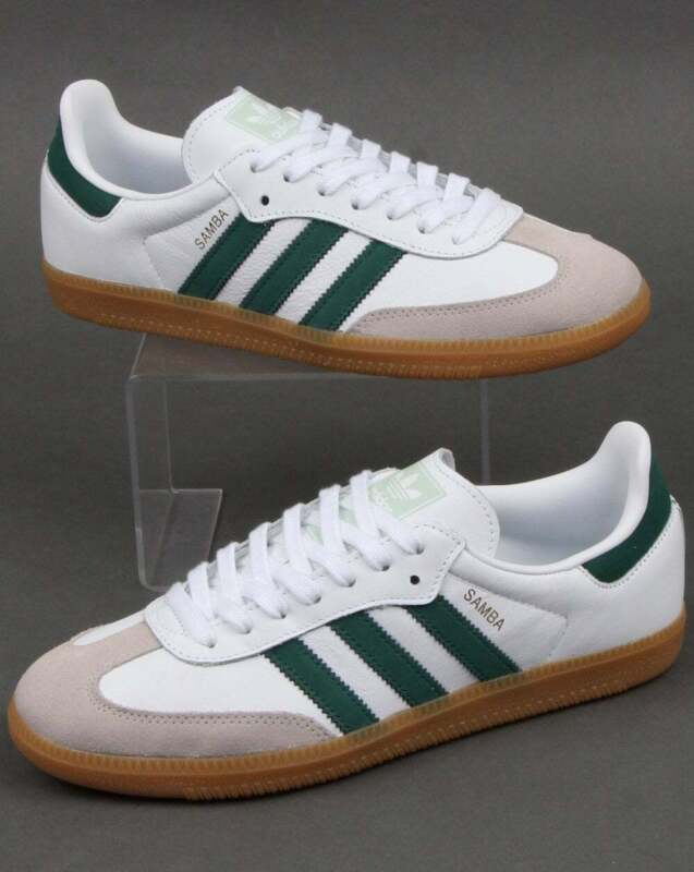 adidas Samba OG Trainers in White & Dark Green, gum sole, retro leather classic