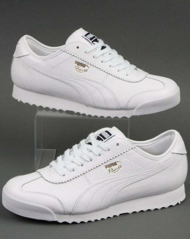 Puma Roma 68 Vintage Trainers in White leather - retro classics sneakers  shoes