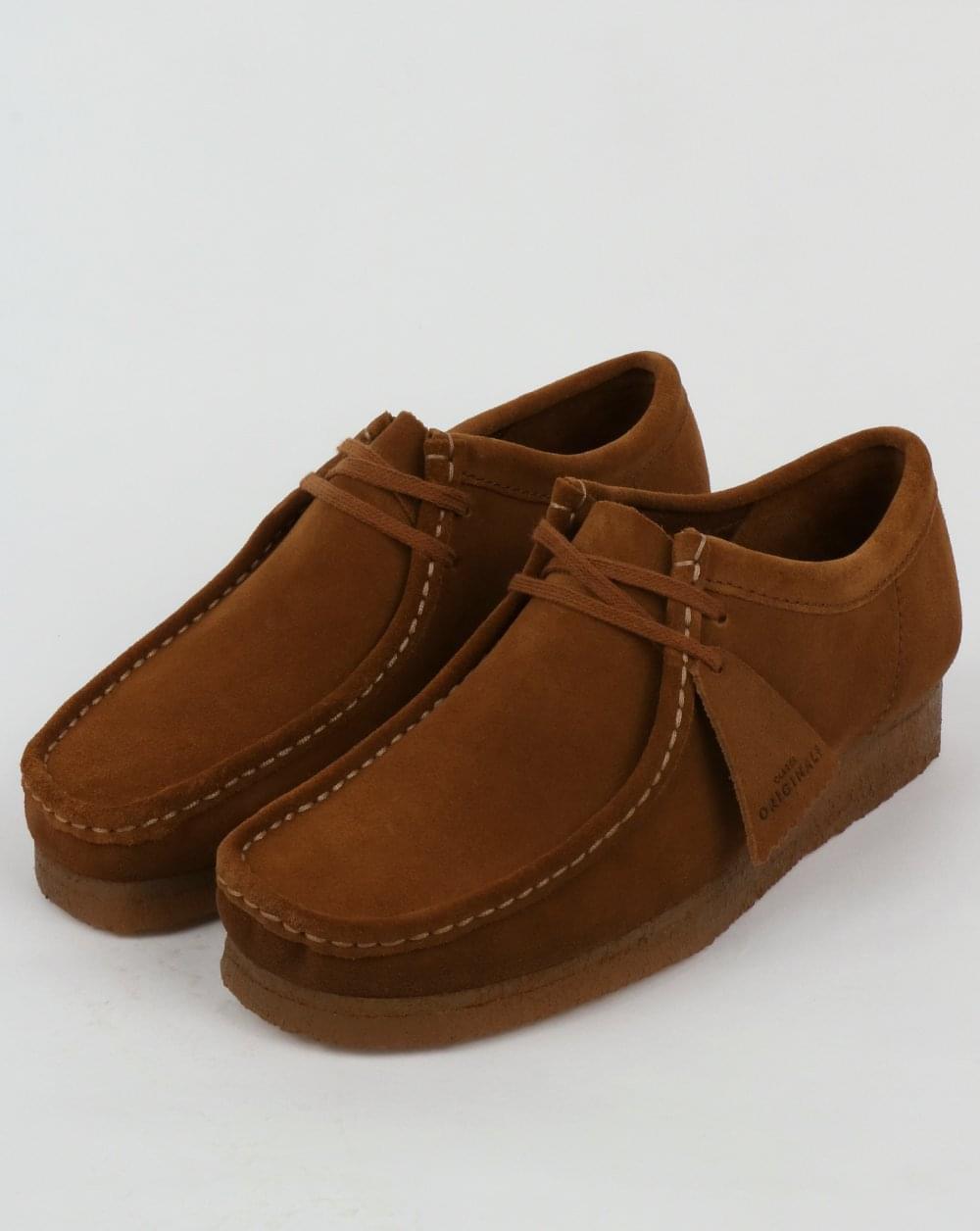 Clarks Originals Wallabee Shoes in Cola Suede - rich brown crepe sole moccasin