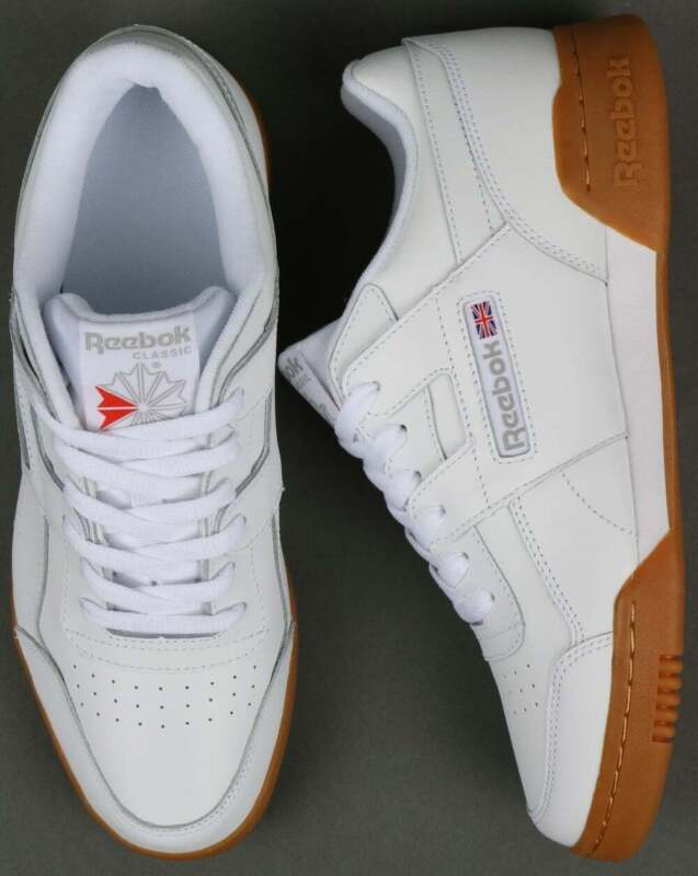 Details about Reebok Workout Plus Trainers in White, Gum Sole classic H Strap soft leather