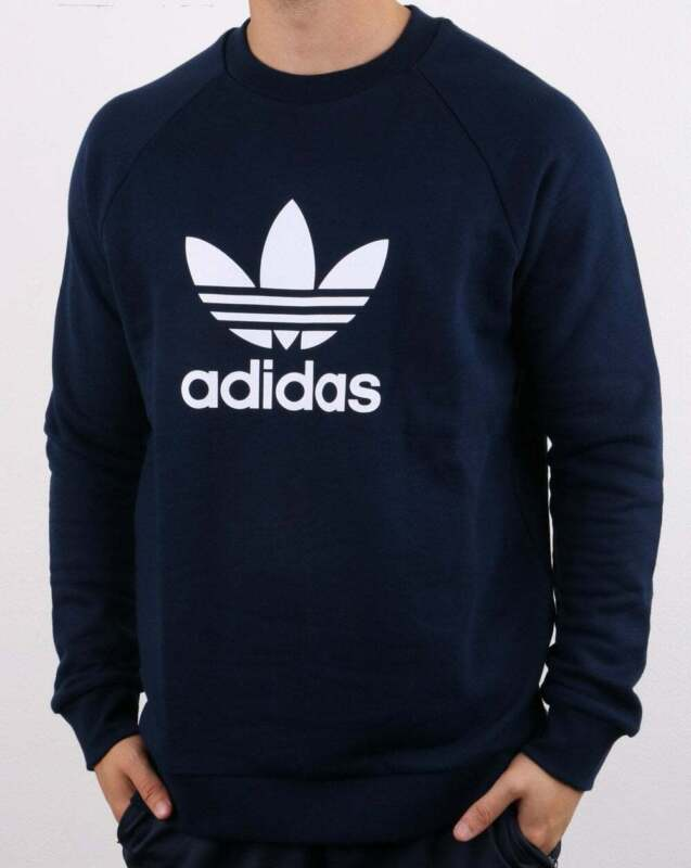 Adidas Originals Trefoil Crew Sweat in Navy sweatshirt, jumper, cotton