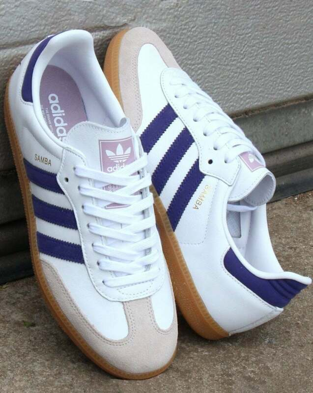 adidas Samba OG Trainers in White & Purple leather with gum sole, retro SALE
