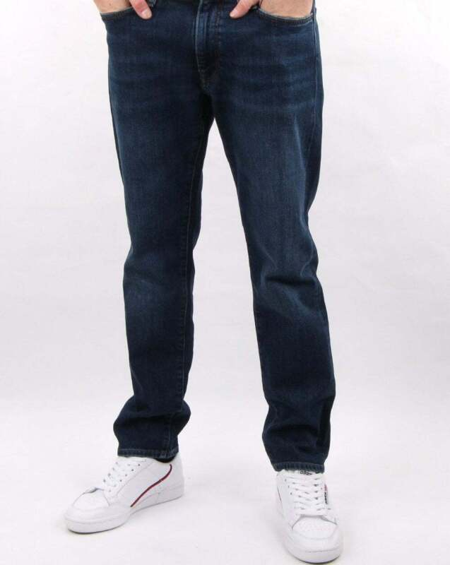 KANGOL JEANS TAPERED LEG STRAIGHT LEG WORN DARK WASH MID WASH DENIM REVIVE