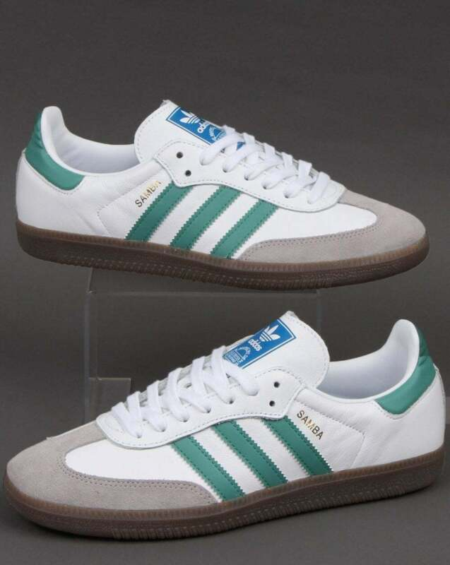 adidas Samba OG Trainers in White & Light Green SALE! retro gum sole, leather