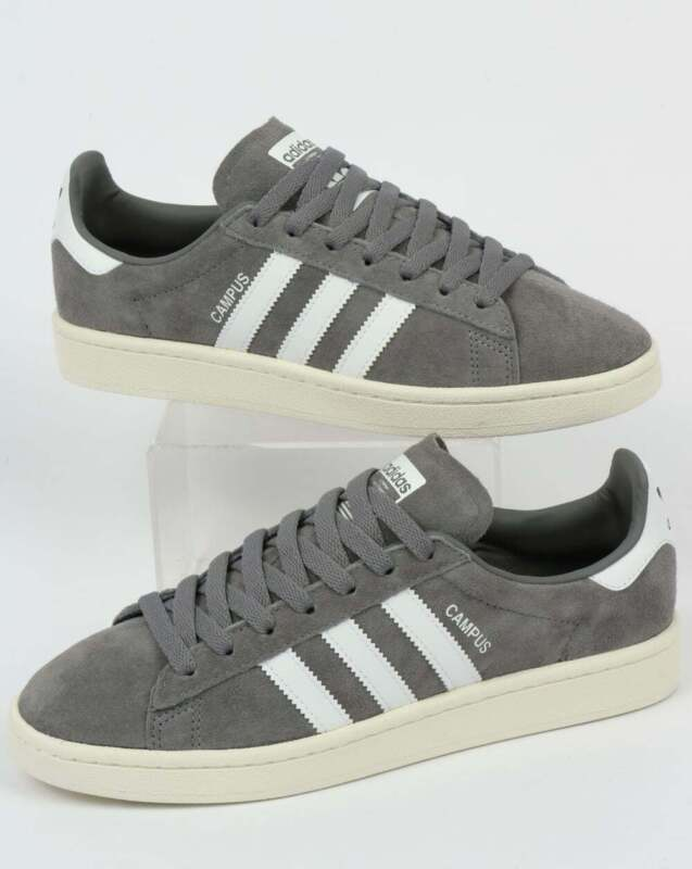 adidas Campus Trainers in Grey & White - SALE suede retro classic shoes