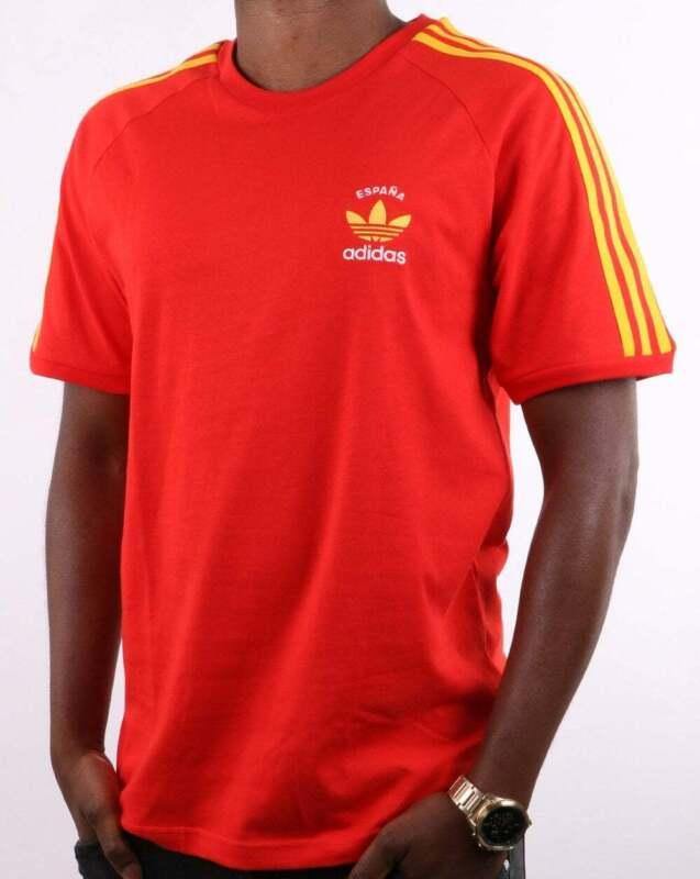 carne de vaca reservorio extraño  Adidas Originals 3 Stripes Espana T Shirt Red/Yellow   eBay