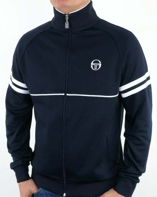 Sergio Tacchini Masters Track Top in Navy /& White Dallas Orion Ghibli