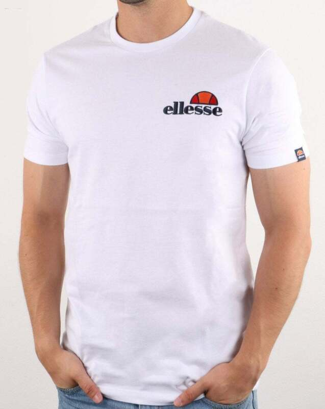 Ellesse Embroidered Logo T Shirt in White Voodoo tee, short sleeve cotton crew