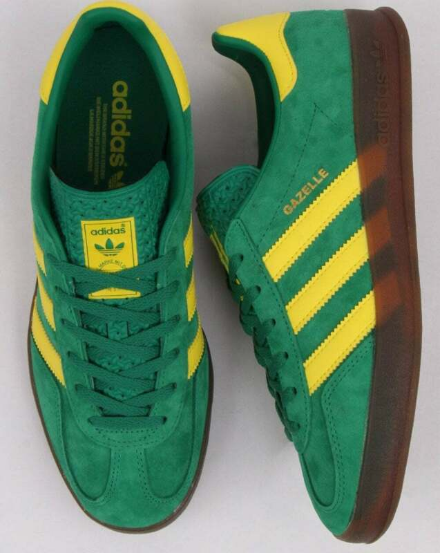 Details about Adidas Gazelle Indoor Trainers Green/Yellow