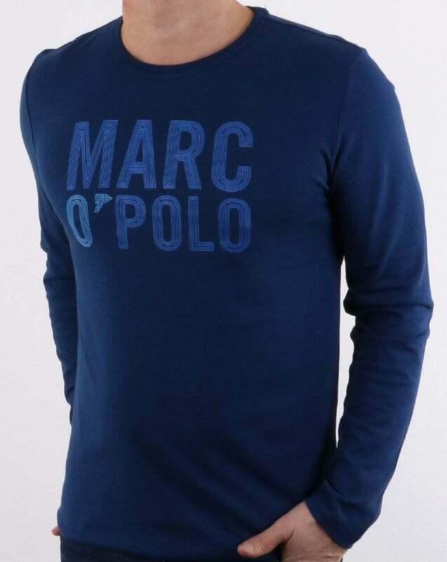 the best attitude f8e58 3eb36 Marc O'Polo Long Sleeve Logo T Shirt in Estate Blue - crew neck organic  cotton