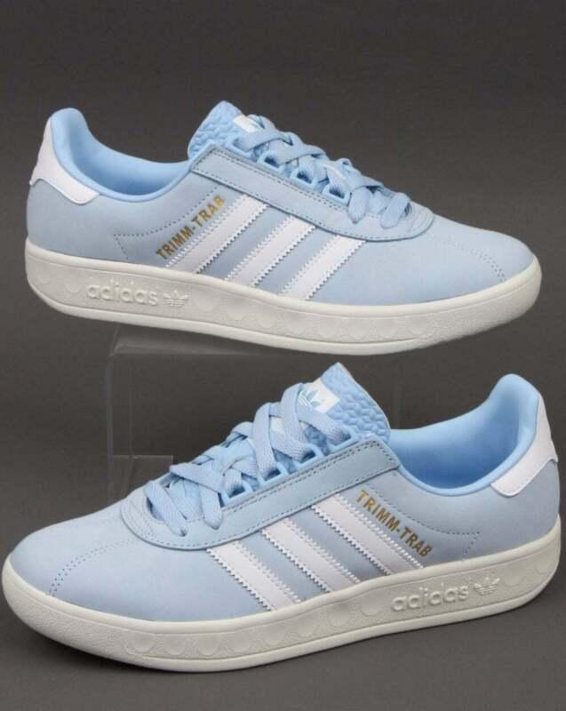 con tiempo clásico Pocos  adidas Trimm Trab Samstag Trainers in Sky Blue & White - retro 80s casual  shoes | eBay
