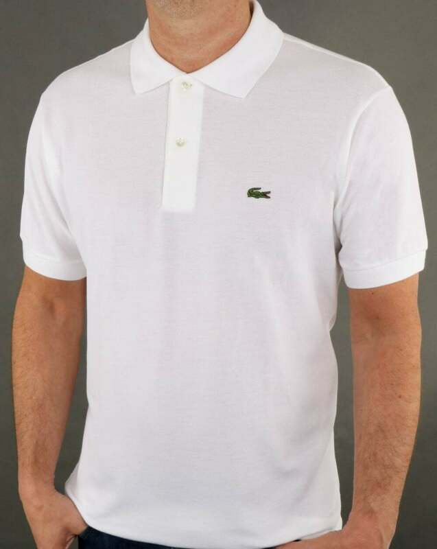 Lacoste Polo Shirt in White - classic two button in cotton pique, short sleeved