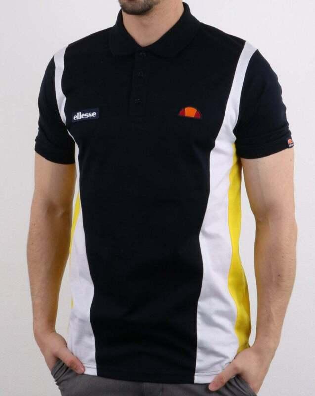 Ellesse Villento Polo Shirt in Navy Blue short sleeve retro tennis polo SALE