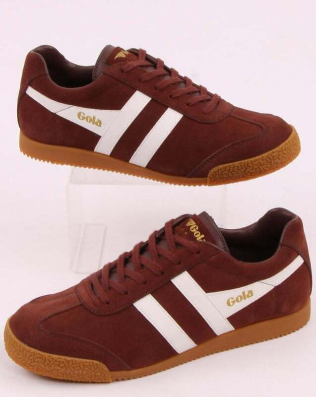 best shoes super popular well known Gola Harrier Suede Trainer in Cognac Brown & White - retro 70s 80s 90s shoes