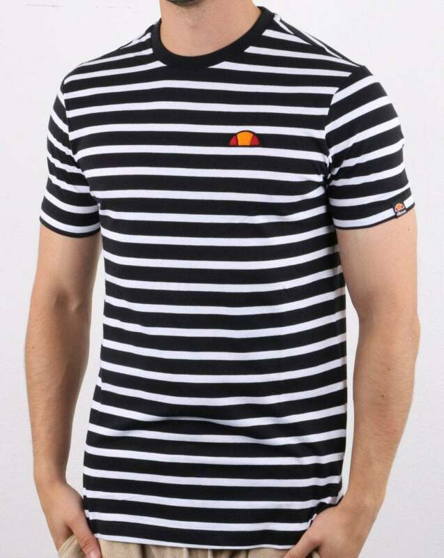 Ellesse Sailo T Shirt in Black & White Breton style striped tee, short sleeve