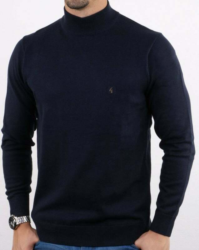 Bnwt Men/'s Gabicci Vintage Turtle Neck Jumper Sweater Merino Wool Dark Grey New